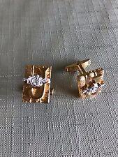 Masonic Free Mason Gold Tone 1971 El Bekal Jerry Johnson Potentate Cuffinks