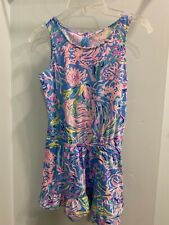 Lilly Pulitzer Girl's Blue and Pink Floral Print Romper Medium 6 - 7 RN# 88189
