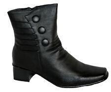 Ladies Low Heel, Lightweight Boot, Button/Ruche Detail, Inside Zip Black Size 3