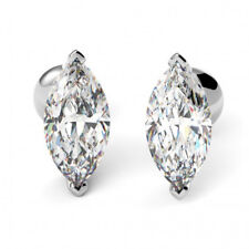 1.00 Ct Bridal Diamond Earring Stud 18K Solid White Gold Marquise Cut Studs