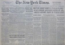 11-1940 WWII November 12 BRITISH SHOOT DOWN 13 ITALIAN PLANES RAID DANZIG BY AIR
