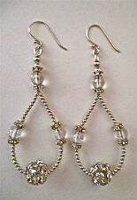 STERLING SILVER, CRYSTAL & RHINESTONE HANDMADE DANGLE EARRINGS ~ UNIQUE DESIGN!