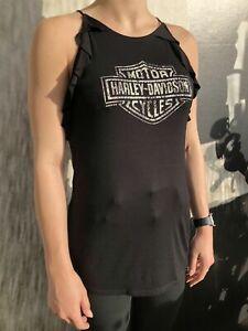 Harley-Davidson® Women's Black Long Ruffle Vest Top Lancashire England Small