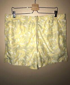 Mens Nat Nast Cabana Collection Yellow Tan Swim Trunks - Size M
