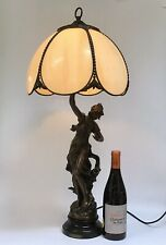 "Estilo Art Nouveau Figural Lámpara de Mesa ""suave"" después de Louis Moreau Bronceado"
