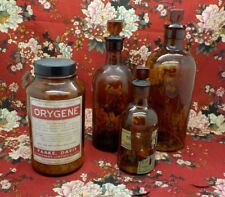 Set of 3 Vintage Dark Amber Brown Glass Laboratory Apothecary Reagent Bottles