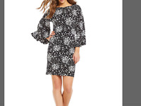 Michael Kors Macy mod floral print matte jersey flare sleeve Shift Dress SIze XS