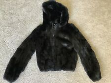 GUESS Genuine Rabbit Fur Jacket With Hoodie Size Medium Leather Trim