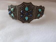 Vintage Antique Old Chines Silver Turquoise Lapis Bracelet