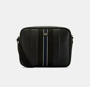 TED BAKER Mens Charder Webbing Shoulder Cross Body Despatch Bag Black BNWT