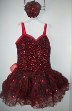 NEW! Small Adult Red Black Lace Sparkle Ice Figure Skating Dance Dress Hairpiece