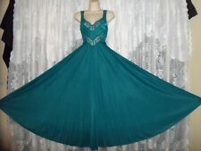 VTG Rich TEAL OLGA Chevron Lace FULL BODYSILK Nightgown Negligee Gown S M 9295