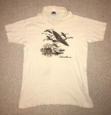 Vtg 80s Eddie Bauer Shirt Medium Polo Cotton Duck Hunting M
