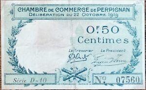 Billet 50 centimes Chambre de commerce de Perpignan - 1919 - nécessité - série D