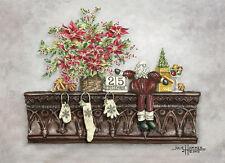 """Holiday Santa"" Greeting Cards-pack of 10 & envelopes, by artist, Julie Hammer"