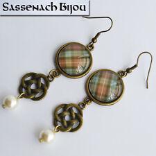 Scottish Tartan, Celtic Knot & Pearl - Bronze Hook Earrings - Outlander Jewelry