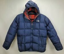 The North Face Reversible 550 Down Puffer Jacket Coat Boys Large 14 16 Blue Hood
