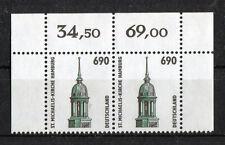 Bund 1860 Eckrand waagerechtes Paar Ecke 1 + 2 Sehenswürdigkeiten 6,90 DM