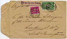 GERMANY 1923 PRINTED MATTER RATE INFLATION FRANKING ENVELOPE...STUD HOLE CLOSURE