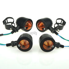 Retro Round Black Turn Signal Lights Indicator Blinker+Bracket Mount Motorcycle