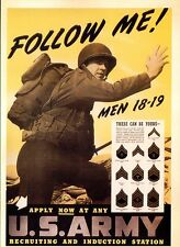 PICTURE POSTCARD OF WORLD WAR II POSTER FOLLOW ME MEN APPLY NOW FOR US ARMY