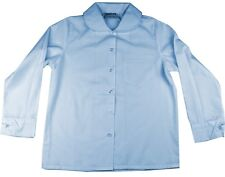 Girls School Shirt Sky Blue Size 16 Peter Pan Rounded Collar Long Sleeve New!
