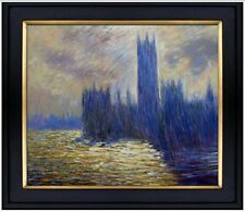 Framed, Claude Monet House Parliament Repro, Hand Painted Oil Painting 20x24in