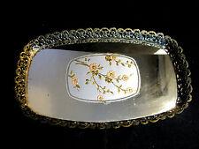 Victorian Vanity Tray Mirror Brass Sides Ornate Pink & Gold Center Floral Motif