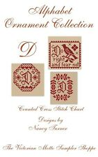 Alphabet ornament collection, letter D, sampler, 3 counted cross stitch charts