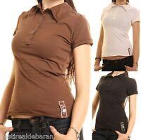 Polo T-Shirt Donna Maglietta ZONA BRERA Maglia A203 Bianco Nero Marrone Tg S M L