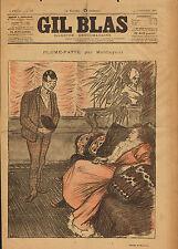 """GIL BLAS"" Pierre-Lithographie-Plume-Patte par Montjoyeux. STEINLEN. 1893"