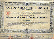 Russia Imperial Bond 1913 Cotton Cotonniere Dedovo Moscow Co 500 fr 5% coupons