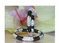 2.50Ct Round Gorgeous Cut Black Diamond Hoop Earrings 14K White Gold Finish