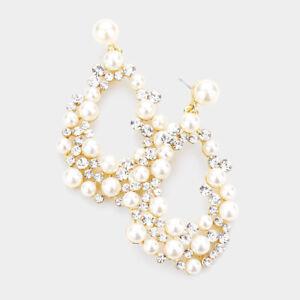 NEW Rhinestones & Faux Pearls Cluster Hollow Teardrop Dangle Gold Tone Earrings