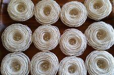"3"" - 12  Burlap loopFlowers/pearls - Rustic Wedding Decoration, Craft Projects"
