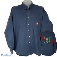 Tommy Hilfiger Mens XL Oxford Shirt Blue Red Long Sleeve Cotton Crest Vintage