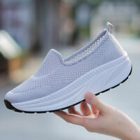 Women's Canvas Walking Exercise Slip on Sneakers  Comfortable Fitness Shoe