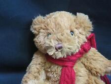 BATH BODY WORKS ROUND SHAGGY TEDDY BEAR RED SNOWFLAKE SCARF PLUSH STUFFED ANIMAL