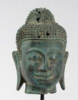 Antigüedad Khmer Estilo Bronce Enlightenment Phnom Da Buda Estatua -