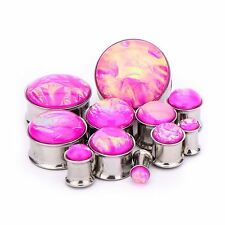 "PAIR-Iridescent Foil Pink Steel Double Flare Plugs 12mm/1/2"" Gauge Body Jewelry"