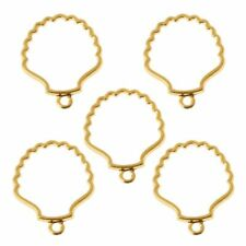 5Pcs DIY Shell Metal Frame Pendant Open Bezel Blank Setting UV Resin Jewelry
