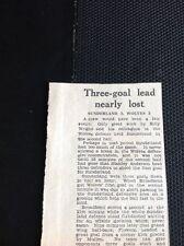 L4-1 Ephemera 1957 Article Jan 2nd Football Report Sunderland 2 Wolves 3