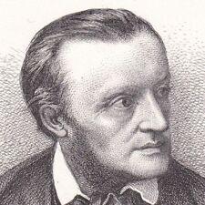 Eau-Forte Richard Wagner Opéra Bayreuth Allemagne Compositeur Musique 1878