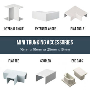 MT1 OR MT2 PLASTIC MINI TRUNKING ACCESSORIES ALL ANGLES, COUPLERS, END CAPS