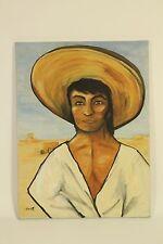 Leora Lynn Original Oil On Canvas Folk Art Painting Signed Young Man Portrait