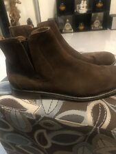 John Varvatos Waverly Chelsa Boots Brown Calf Leather Suede Size 13M