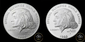 1995 P & W Special Olympics Commemorative Silver Dollar Business & Proof BU+ Set