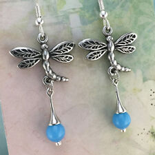 Dragonfly Earrings with Blue Glass Crystal, Australian Made Pewter