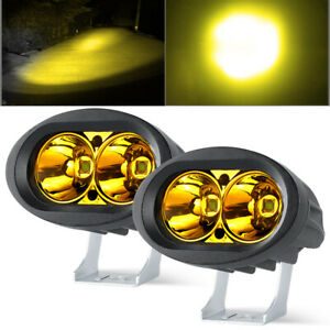 "2X 4""inch Yellow LED Work Light Hi/Lo Spot Pods Driving Offroad Fog ATV UTV 4WD"