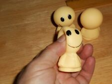 "3 Classic Smile Smiley Face Yellow Rubber Plastic 2"" Tall Figure Topper, Squeeze"